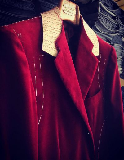 Caraceni Milan | Red velvet jacket in progress